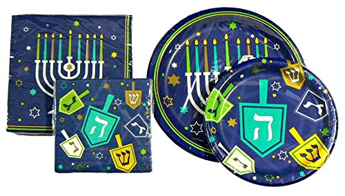 Hanukkah Menorah Dreidel Party Supply Bundle - Serves 8 (Plates/Napkins) (Menorah Paper)