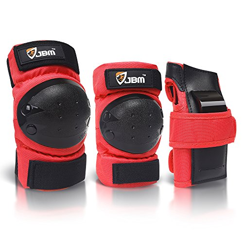 JBM international Adult / Child Knee Pads Elbow Pads Wrist Guards 3 In 1 Protective Gear Set, Red, Youth / Child
