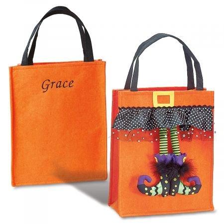 Lillian Vernon Personalized Kids Orange Witch Feet Halloween Treat Bag - Felt 13-3/4