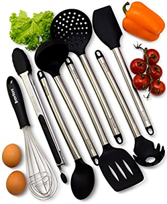 Kitchen Utensils - 8 Piece Cooking Utensils - Nonstick Utensil Set - Silicone and Stainless Steel Kit - For Pots and Pans - Serving Tongs, Spoon, Spatula Tools, Pasta Server, Ladle, Strainer, Whisk by Braviloni