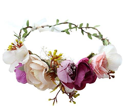 Crown Tie (Vivivalue Handmade Boho Rose Flower Wreath Headband Crown Halo Floral Hair Garland Headpiece with Ribbon Festival Wedding Pink)