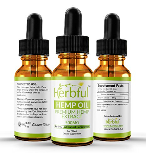 Herbful Hemp Oil for Pain Relief 500mg :: Stress Support, Anti Anxiety, Sleep:: All Natural Ingredients :: Zero Artificial Flavors :: Rich in MCT Fatty Acids :: Natural Anti Inflammatory ::