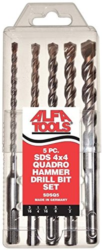 Alfa SDSQ5 Sds Quadro Hammer Drill Bit Set