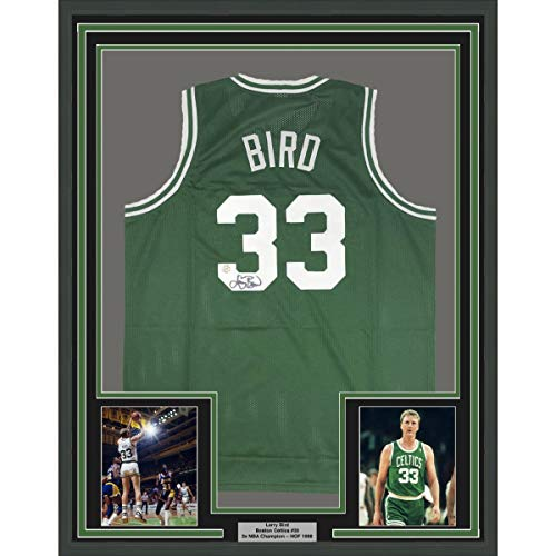 - Framed Autographed/Signed Larry Bird 33x42 Boston Green Basketball Jersey Athlete Hologram COA