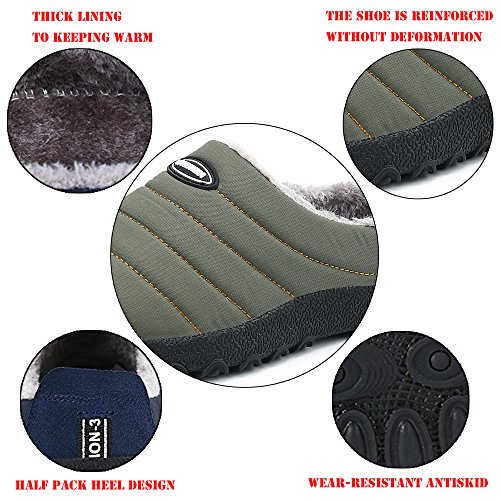 on Lined Slippers Outdoor for Soft Green Winter House Slip Men Snow Indoor Wool Shoes Nishiguang Plush Women B18vwxq