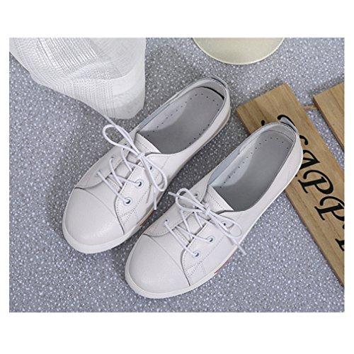 con blanco cordones Zapatillas para Oxford Blanco puntiagudos suaves mujer color y qqIzH86wg