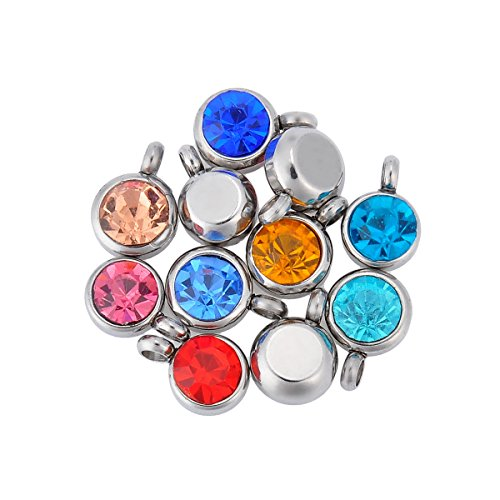 HOUSWEETY Stainless Colorful Crystal Pendant
