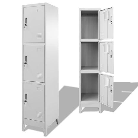 Festnight Mueble Archivador Armario de Oficina Acero con 3 Compartimentos,38x45x180 cm(Tipo 3