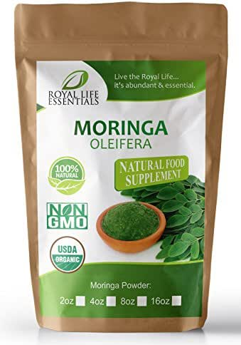 Moringa Oleifera Leaf Powder Organic 16oz - 1lb. Non GMO multivitamin for Metabolism, Weight Loss, Protein & Mood Boost – in Smoothies – Vegans & Vegetarians - Iron & Amino acids Supplements