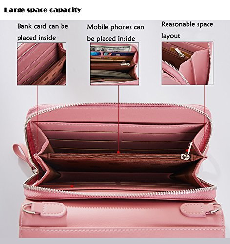 Leather Pu Black Clutch Purse New Pink Case Holder Light SAIERLONG Womens Wallet IRq4xUpOw