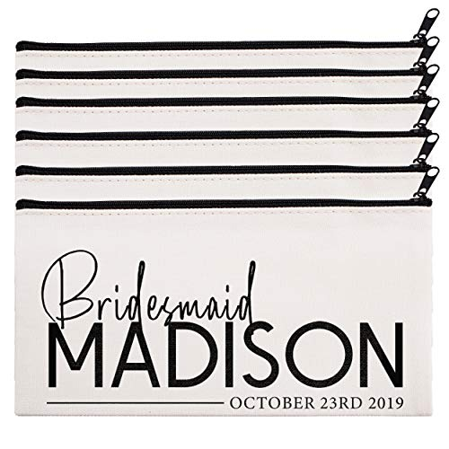 Personalized Makeup Bag Bridesmaid Wedding Customized Pouch Bachelor | Design-18 | Set of 6