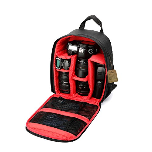 Camera Backpack DSLR SLR Camera Bag Video Padded Backpack Waterproof for Nikon,Canon, Sony, Olympus, Samsung, Panasonic, Pentax Cameras (Red) 13.3