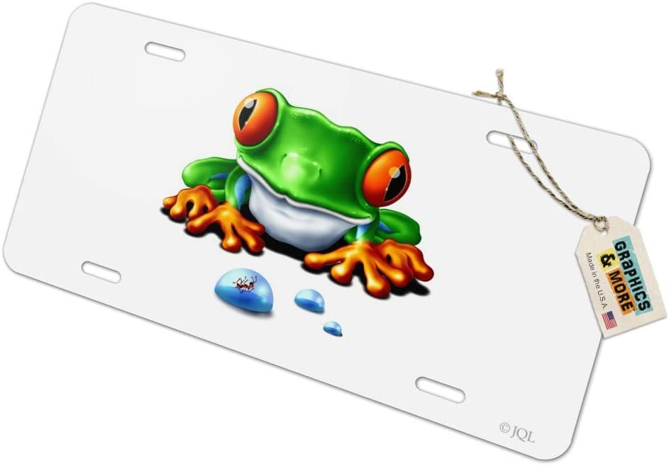 Rainforest Red Eyed Tree Frog and Ant Novelty Metal Vanity Tag License Plate