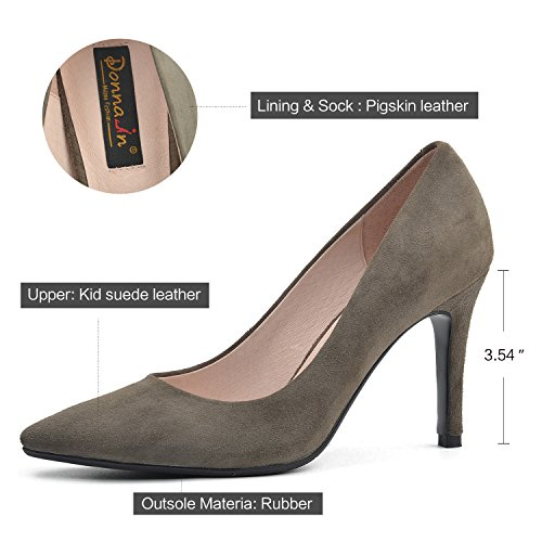 DONNAIN Women Pumps Genuine Leather Stiletto High Heels Natural Suede Ladies Shoes For Spring Grey cheap low shipping visit for sale release dates sale online low price fee shipping cheap price 74Lv8vn