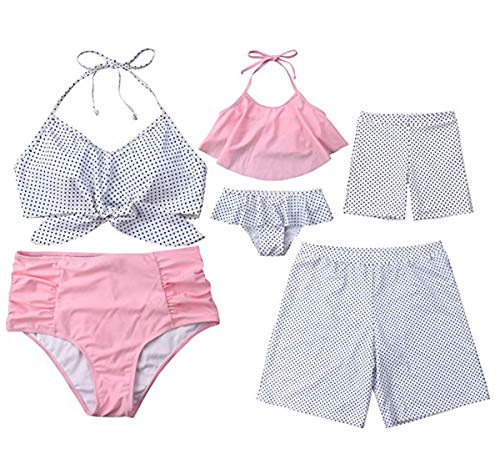 Family Matching Dot Print Swimwear Parent-Child Swimsuit, Men, Size ()