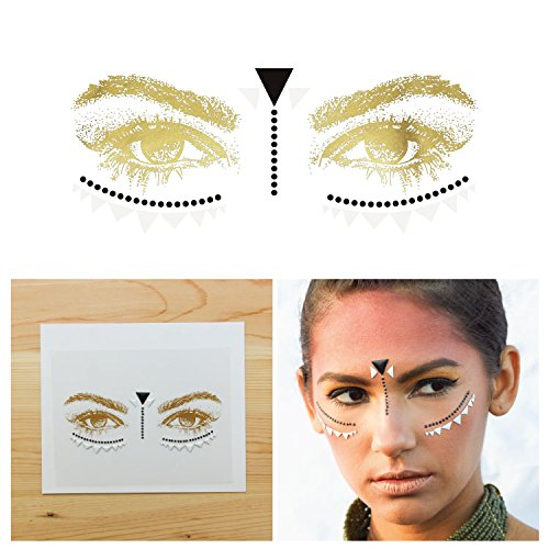 Glitter Tattoo Glam Rock Kit (Tattify Bindi Tribal Colorful Temporary Face Rocks - Metal - Other Styles Available, Fashionable Temporary Rhinestone Gem Face Jewel Stickers - Long Lasting and Waterproof)