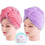 Hair Towel Wrap, Quick Dryer by Monarca, Pack of 2 Plush Soft Fleece Magic Hair Turban Wrap for Bath Spa Hot Tubs and Makeup ( Hot Pink, Purple)