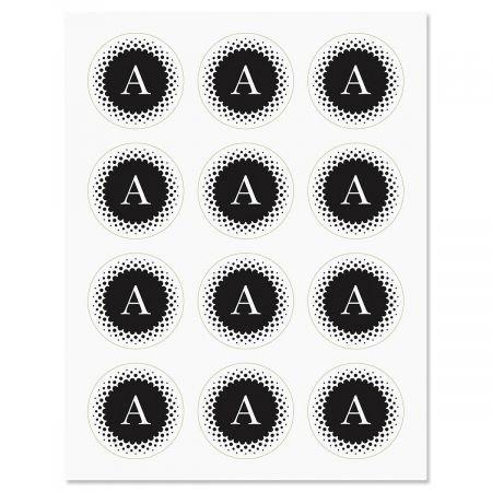 - Black and White Monogram Stickers- Set of 72 Envelope Seals