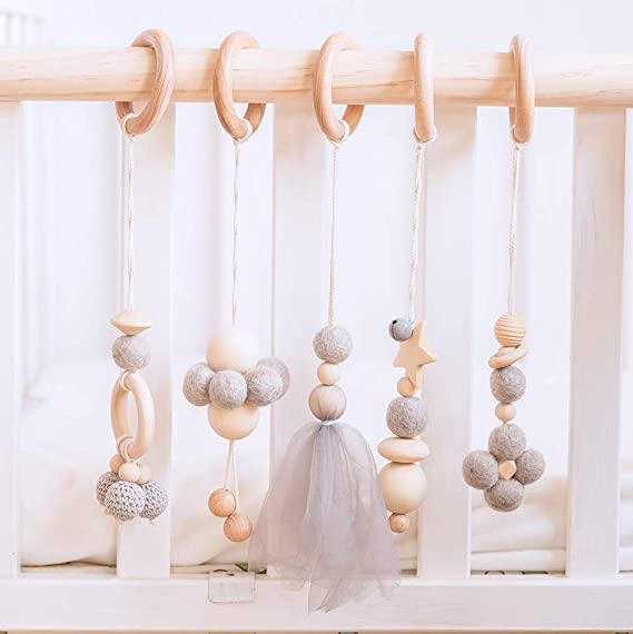 Wooden Baby Play Gym Pendant Frame Wood Ring Wool Balls Handmade Rattles Newborn Gift Baby Girl and Boy Gym Gray