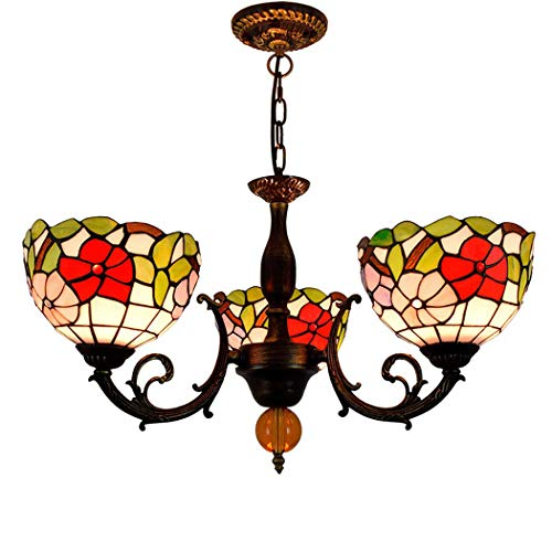 (Litaotao 22 Inch Tiffany Style Pendant Lamp 3 Arms Chandelier Floral Pattern American Pastoral for Bedroom Study Decorative Lighting,E27,110-240V)