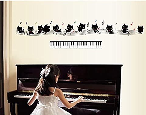 TOTOMO #W158 Piano Cat Wall Decals Removable Wall Decor Decorative Painting Supplies & Wall Treatments Stickers for Girls Kids Living Room Bedroom