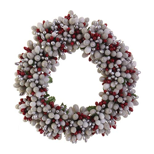 RAZ Imports Silver Frosted Beaded Berry 6.5 Inch Decorative Christmas Candle - Beaded Candle