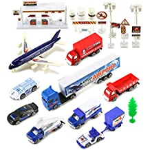 International Airport Plane Field Mini Diecast Toy Vehicle Playset w/ Variety of Vehicles, Accessories