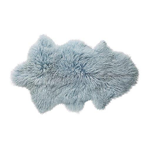 Bloomingville A79200010 Mongolian Lamb Fur Rug, Blue