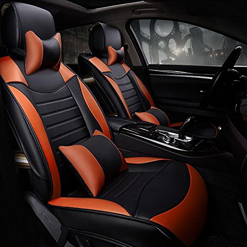 QCZT VW Auto The New All-Inclusive Pu Leather Car Seat Upholstery Car Seat Covers Four Seasons General Motors Supplies, Black Orange
