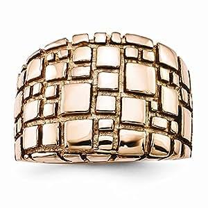 Acero inoxidable pulido y con Rose IP-anillo plateado - tamaño P 1/2 - JewelryWeb