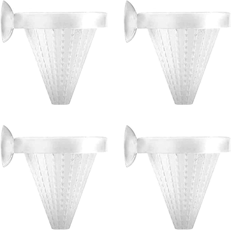 DGZZI Aquarium Cone Feeder 4PCS White Fish Tank Red Worm Feeding Cone Cups with Suckers