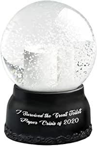 Hilarious Toilet Paper Snow Globe I Survived The Great Toilet Paper Crisis Cute Tiny Crystal Clear Glass Snow Globe, Creative Quarantine Snow Globe Gift for Home Car Decor Accessories