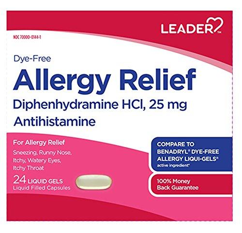 - Leader Dye-Free Allergy Relief, 24 Liquid Gels Each (Pack of 5)