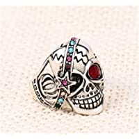 New Ladies Fashion Silver Jewelry Exaggerated Skull Crystal Ring 7#-10# by Siam panva (10)