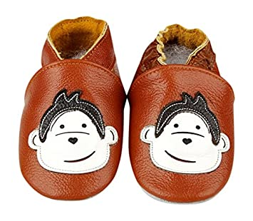8cb739c80e93b HAND MADE SOFT LEATHER BABY SHOES WITH SUEDE SOLES MONKEY 0-6 MONTHS 6-12  MONTHS 12-18 MONTHS BOY GIRL CUTE BOOTIES PRAM SHOES NEWBORN FIRST SHOES ...
