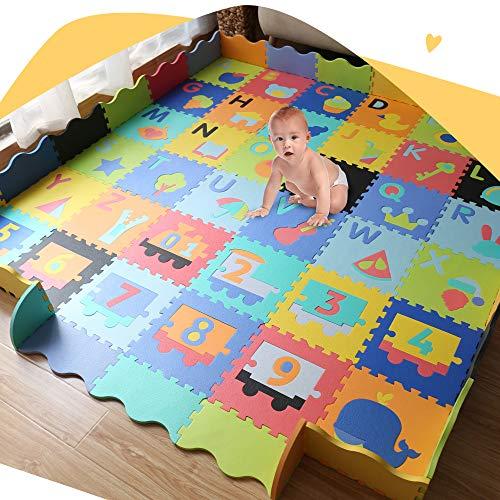 Baby Foam Play Mat with Fence - Interlocking Alphabet Crawling Mat with 36 Foam Floor Tiles