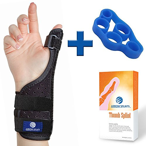 Arrow Splints Thumb Brace | for Arthritis, Trigger Thumb, Carpal Tunnel, Thumb Stabilizer, Tendonitis, Sprain - Thumb Spica Splint is Reversible to fit Right & Left Hand Thumb Splint + Thumb Exerciser