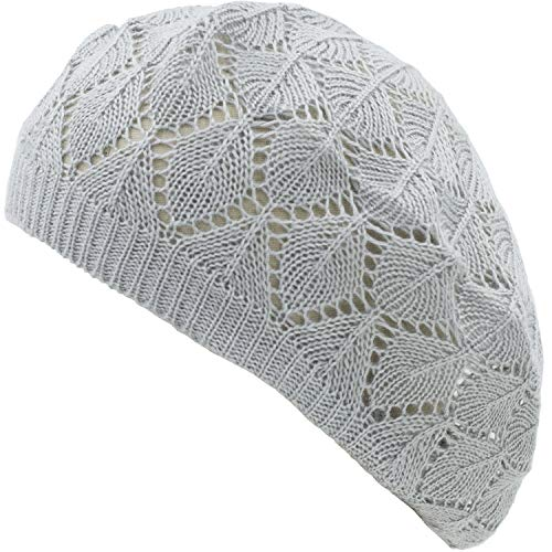 (an Womens Light Gray Diamond Stripe Geometric Cut Outs Beanie Beret Caps)