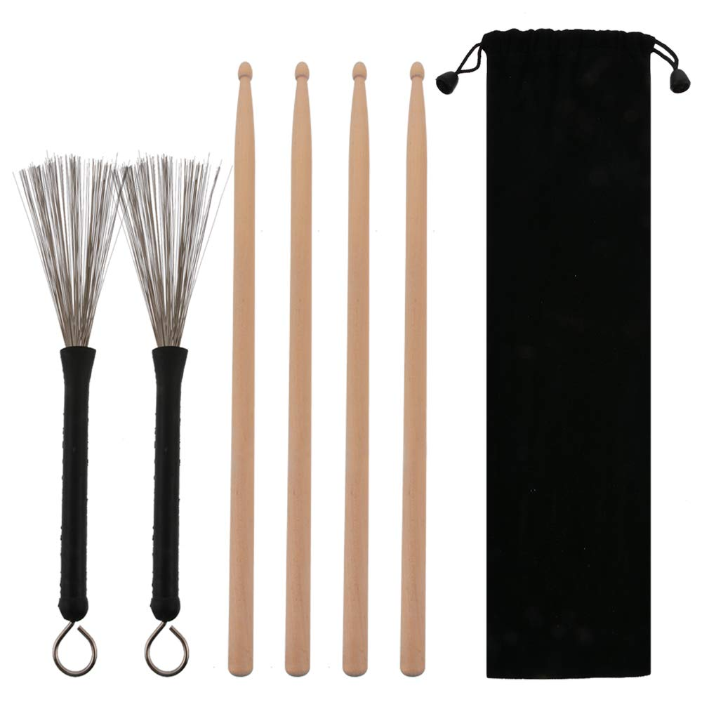 Godagoda 2 Pairs 5A Drum Sticks 1 Pair Drum Wire Brushes Classic Maple Wood Drumsticks Sets Retractable Brushes Drums Sticks Brushes for Jazz Acoustic Music Lover Gifts