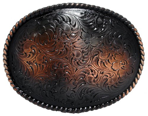 Antique Copper Rope Engraved Western Belt Buckle ()