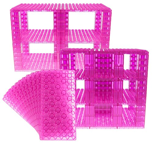 Strictly Briks Classic Big Briks 96 Piece Set 100% Compatible with All Major Brands   Tower Construction   Large Pegs for Toddlers   Ages 3+   Building Bricks & Baseplates   Clear Magenta