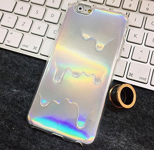 Iphone 5 5G SE Case, Hot Stylish 2 In 1 Holographic Iridescent Style 3D Melting Oil Drippy Transparent TPU Cover Case for Iphone 5 5G SE, Holo Pale Grunge Rainbow Color Skin Shell (Rainbow melting)