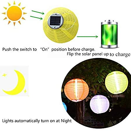 BestTong Waterproof LED Solar Lantern Lamps Festive Garden Xmas Ball String Fairy Light for Party Holiday Orange A0000097