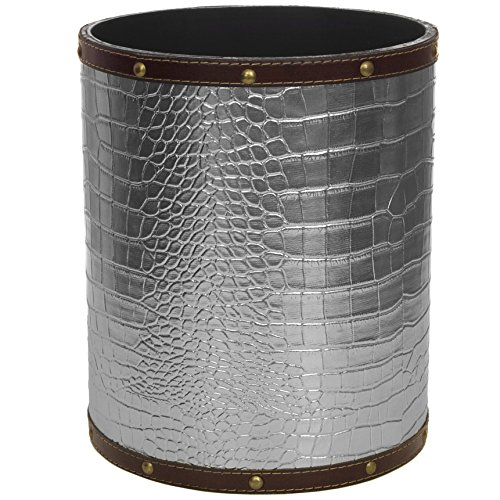 Leather Waste Bin (Oriental Furniture CAN-WST-CROC-SLV Silver Faux Leather Waste Basket)