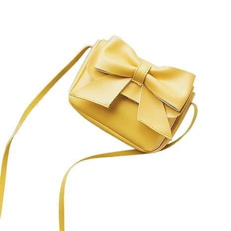 Kinder Mini Umhängetasche, Sunday Mädchen Nette Bowknot Leder Handtasche Schultertasche Solide Tasche 14cm(L)*2cm(W)*10cm(H) (14cm, Gelb)