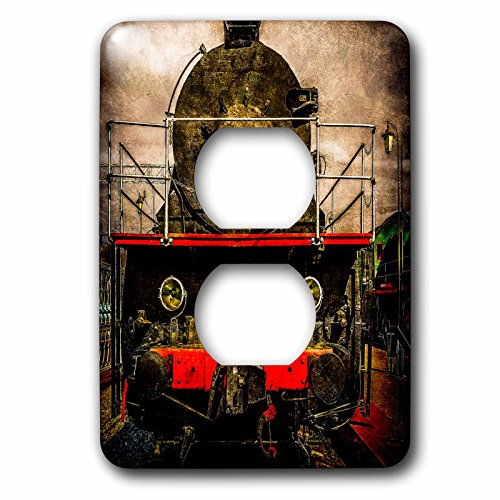 raphy - Transport Railroad - Vintage steam train locomotive. On the sidelines. Stylized photo - Light Switch Covers - 2 plug outlet cover (lsp_270613_6) ()