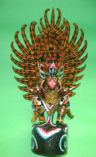 Garuda handmade wood carving from Bali Indonesia 24'' size Red or Black by Over The Rainbow