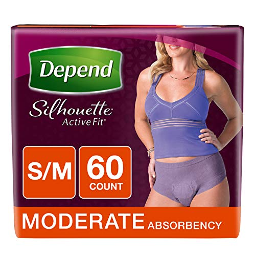 - Depend Silhouette Active Fit Incontinence Underwear for Women, Moderate Absorbency, S/M, Purple, 60 Count