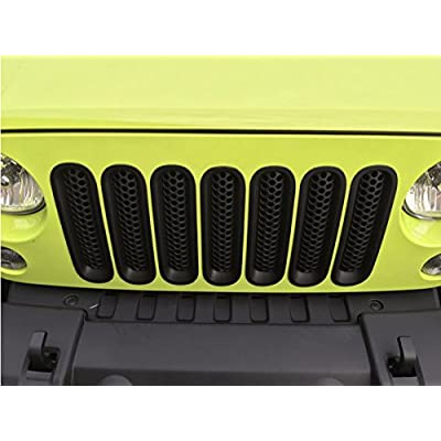 MOEBULB Upgrade Clip in Version Mesh Front Grill Insert Grille Cover Trim for 2007-2015 Jeep Wrangler JK 2-Door & 4-Door (Without Key Hole, Matte Black): Automotive