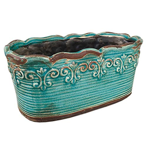 Better-way Rectangular Ceramic Orchid Plant Pot French Country Planter Succulent Container Windowsill Planter Decoration (10 Inch, Rectangle) (Blue)